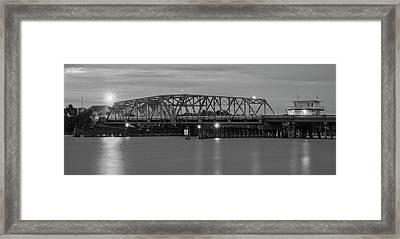 Topsail Island Bridge B  W Framed Print
