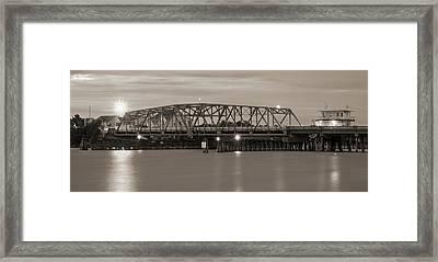 Topsail Island Bridge Sepia Framed Print