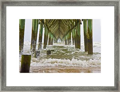 Topsail Island Pier Framed Print by Betsy Knapp