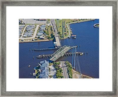 Topsail Island Swing Bridge Framed Print by Betsy Knapp