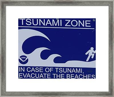 Topsail Island's Tsunami Zone Sign Framed Print by Betsy C Knapp