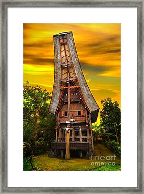 Framed Print featuring the photograph Toraja Architecture by Charuhas Images