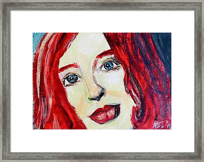 Tori Amos Red Framed Print by Rachel  Trapp