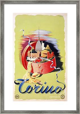 Torino Turin Italy Vintage Travel Poster Restored Framed Print