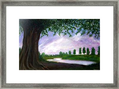 Framed Print featuring the painting Tormented Tree In Serene Sunset by Marie-Line Vasseur