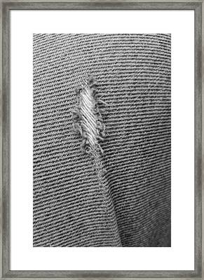 Torn Jeans In Black And White Framed Print by Rob Hans