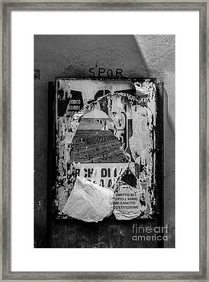 Torn Posters Rome Italy Framed Print by Edward Fielding