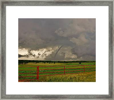 Framed Print featuring the photograph Tornado At The Ranch by Ed Sweeney