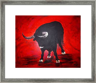 Toro Two On Red  Framed Print by April Turner