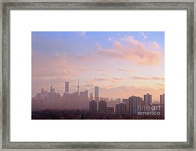 Toronto 2017 Warm Winter Fog Framed Print by Charline Xia