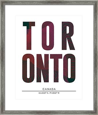 Toronto, Canada - City Name Typography - Minimalist City Posters Framed Print