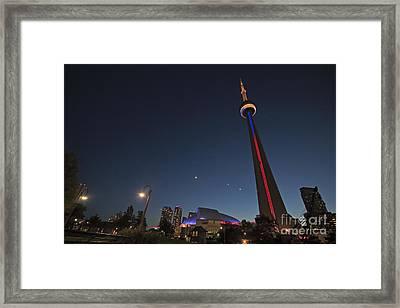 Toronto Cn Tower And Sky Dome Framed Print