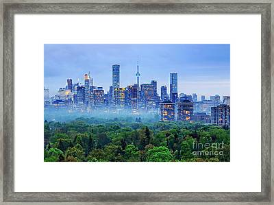 Toronto Downtown And Midtown Evening Clouds Framed Print by Charline Xia