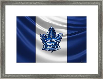 Toronto Maple Leafs - 3 D Badge Over Silk Flag Framed Print by Serge Averbukh