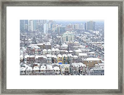 Framed Print featuring the photograph Toronto Midtown Fresh Snow by Charline Xia