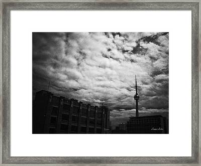 Toronto Morning Black And White Framed Print