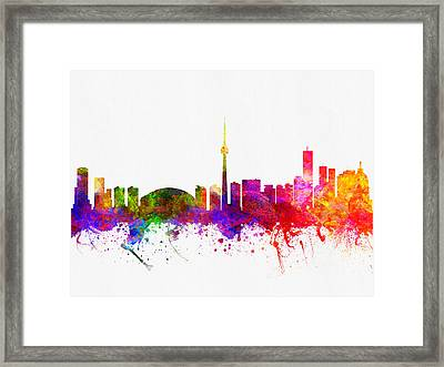 Toronto Ontario Skyline Color02 Framed Print by Aged Pixel