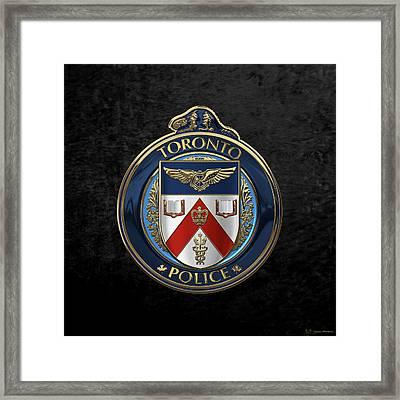 Toronto Police Service  -  T P S  Emblem Over Black Velvet Framed Print by Serge Averbukh