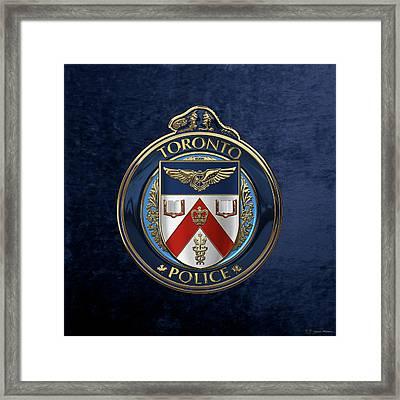 Toronto Police Service  -  T P S  Emblem Over Blue Velvet Framed Print by Serge Averbukh