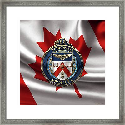 Framed Print featuring the digital art Toronto Police Service  -  T P S  Emblem Over Canadian Flag by Serge Averbukh