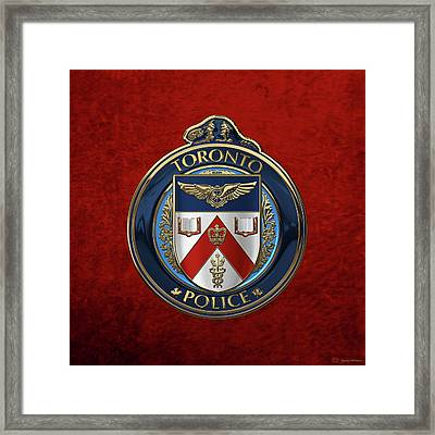 Framed Print featuring the digital art Toronto Police Service  -  T P S  Emblem Over Red Velvet by Serge Averbukh