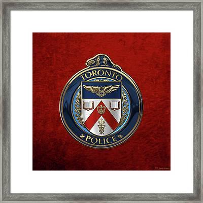 Toronto Police Service  -  T P S  Emblem Over Red Velvet Framed Print by Serge Averbukh