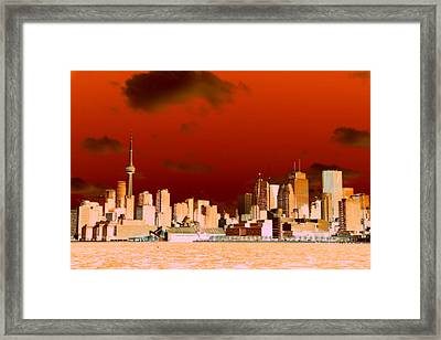 Framed Print featuring the photograph Toronto Red Skyline by Valentino Visentini