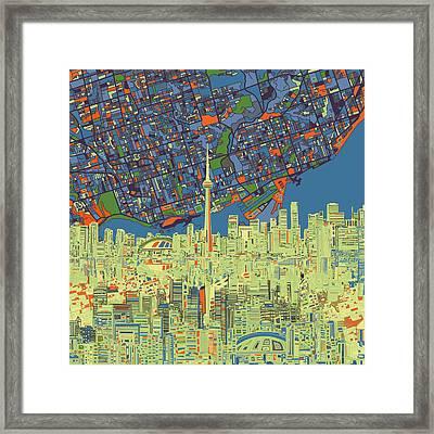Toronto Skyline Abstract 2 Framed Print