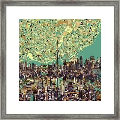 Toronto Skyline Abstract 7 Framed Print