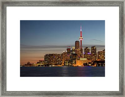Framed Print featuring the photograph Toronto Skyline At Dusk by Adam Romanowicz
