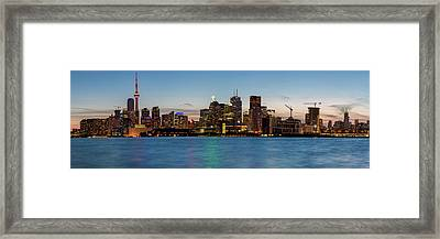 Framed Print featuring the photograph Toronto Skyline At Dusk Panoramic by Adam Romanowicz