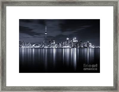 Toronto Skyline Monochrome Framed Print