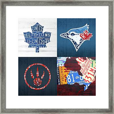 Toronto Sports Team License Plate Art Ontario Map Blue Jays Maple Leafs Raptors Framed Print by Design Turnpike