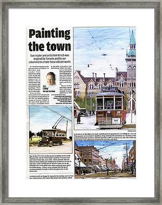 Framed Print featuring the painting Toronto Sun Article Painting The Town by Kenneth M Kirsch