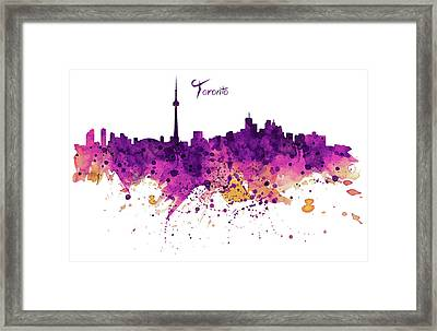 Toronto Watercolor Skyline Framed Print by Marian Voicu