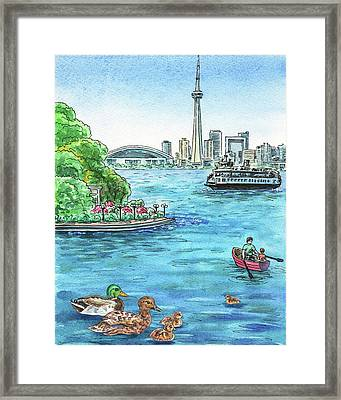 Toronto Waterfront And City Skyline Framed Print