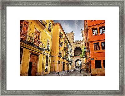 Torres De Quart In Valencia Spain Framed Print