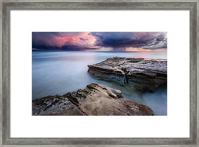 Framed Print featuring the photograph Torrey Pines - Flat Rock Storm by Alexander Kunz