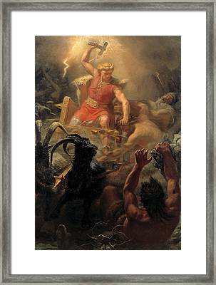 Tor's Fight With The Giants Framed Print by Marten Eskil Winge