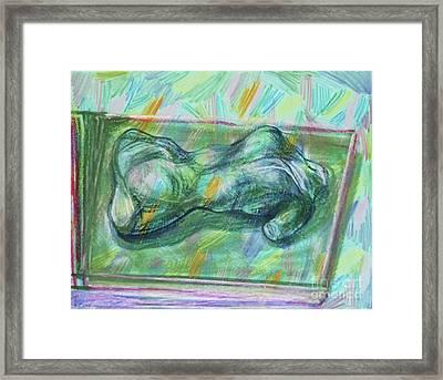 Torso In Green Framed Print