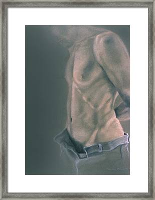 Torso With Jeans Framed Print