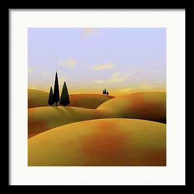 Tuscan Hills Framed Prints