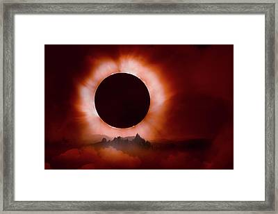 Total Eclipse Of The Sun In The Mountains Framed Print