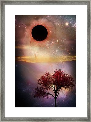 Total Eclipse Of The Sun Tree Art Framed Print