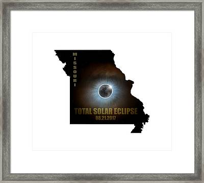 Total Solar Eclipse In Missouri Map Outline Framed Print by David Gn