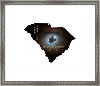 Total Solar Eclipse In South Carolina Map Outline Framed Print by David Gn