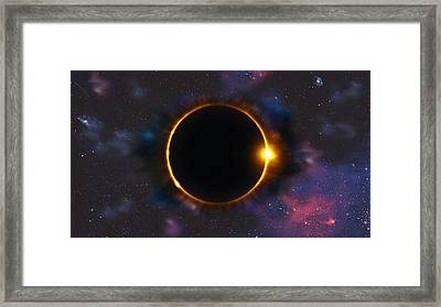 Total Solar Eclipse In Space Framed Print