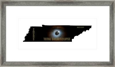 Total Solar Eclipse In Tennessee Map Outline Framed Print by David Gn