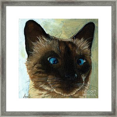 Totally Siamese - Cat Portrait Oil Painting Framed Print by Linda Apple