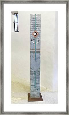 Totem Figure - Votiv Stele - Votive Stela - Ancestral Pole - Crusarder - Poste Antepassados  Framed Print